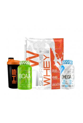 IHS - Supreme Whey 2kg\ BCAA\ OMEGA-3\ Shaker - All in one pack