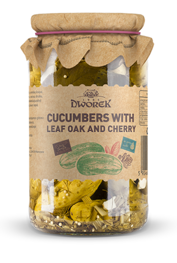 Cucumbers with leaf oak and cherry 900ml / Ogorek extra z lisciem debu i wisni 900ml (qty in box 8)//DWOREK