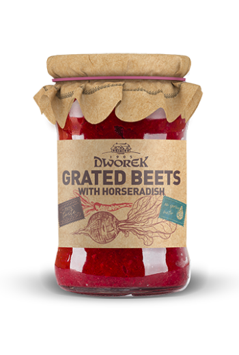 Grated beets with horseradish 315ml / Buraczki z chrzanem 315ml (qty in box120/DWOREK