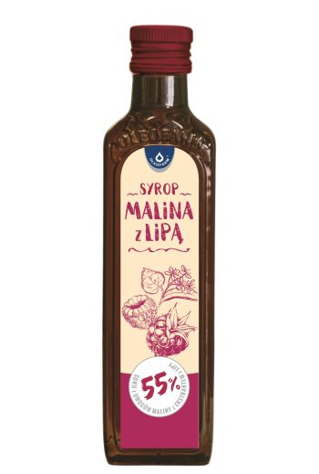 Raspberry syrup with linden 250ml /  Syrop malina z lipą 250ml / Oleofarm