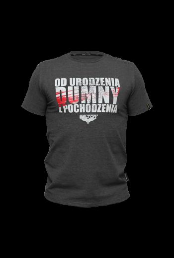 """T-Shirt Slim Grafitowy/ Graphite size L """" Od urodzenia dumny z pochodzenia"""""""