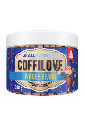 Coffilove Whole Arrabica Coffee Beans in white chocolate with cinnamon