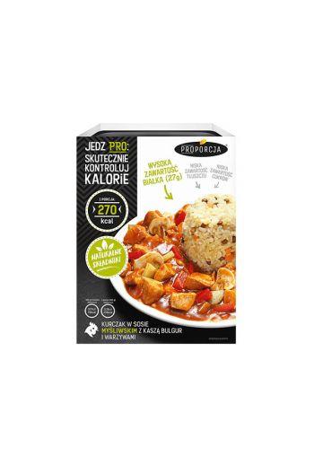 Chicken in a hunting sauce with bulgur grits and vegetables 300g / Kurczak w sosie mysliwskim z kasza bulgur i warzywami 300g