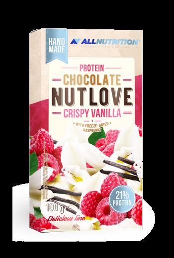 Protein Chocolate 100g Nutlove Crispy Vanilla with freeze drie raspberry