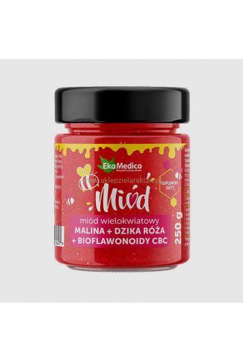 Multiflower honey - with raspberry, wild rose and CDC bioflavonoids 250g / Miód wielokwiatowy z malinami i dziką różą + bioflawonoidy CBC 250g