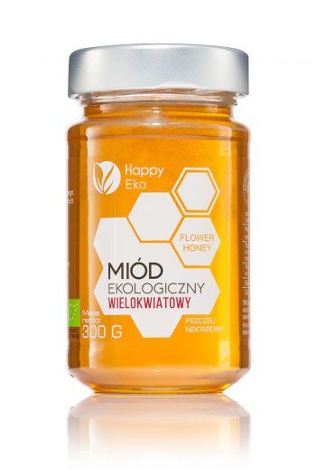 Organic multi-flower honey 300g /  Miód wielokwiatowy ekologiczny 300g / Happy Eko
