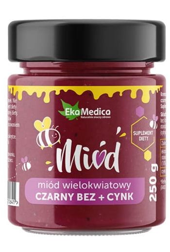 Multiflower honey Elderberry and Zinc 250G/ Miód wielokwiatowy czarny bez i cynk 250g