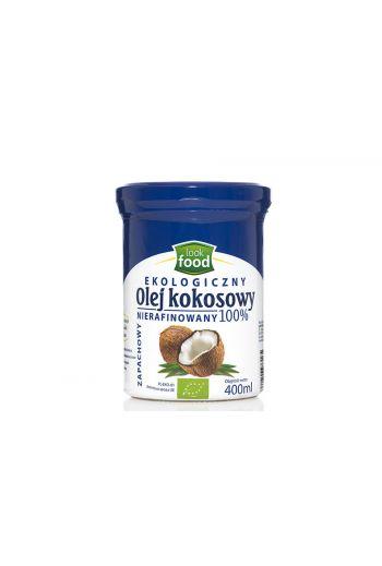 Organic coconut oil unrefined 100% 400ml / Olej kokosowy nierafinowany ekologiczny 100% 400m (qty in box 4)   /LOOK FOOD