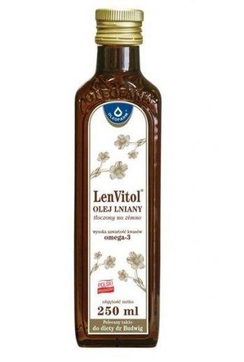 LenVitol linseed oil cold pressed 250ml / LenVitol olej lniany tłoczony na zimno 250ml / Oleofarm