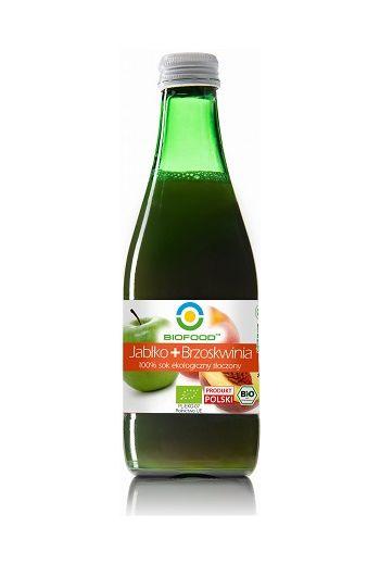 Organic juice apple+ peach /Ekologiczny sok tłoczony jabłko+ brzoskwinia 300ml