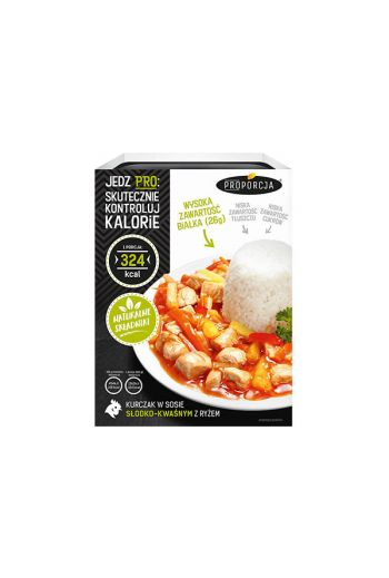 Chicken in sweet and sour sauce with rice 300g / Kurczak w sosie slodko-kwasnym z ryzem 300g