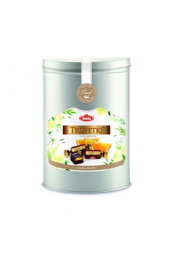 Trufetki 350g/2.8kg - Truffles with orange jelly in chocolate 350g in the can